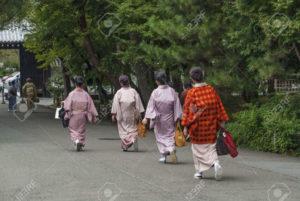 japanese women wearing traditional kimono in kyoto japan street